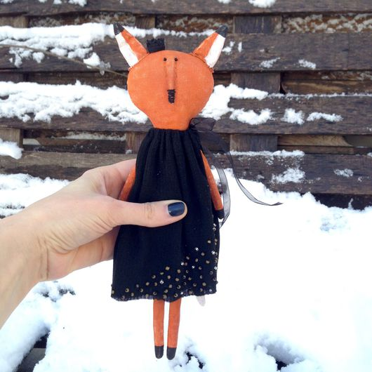 """Коллекционные куклы ручной работы. Ярмарка Мастеров - ручная работа. Купить """"Лисица в чёрном"""" Интерьерная кукла. Handmade. Оранжевый, лисица"""