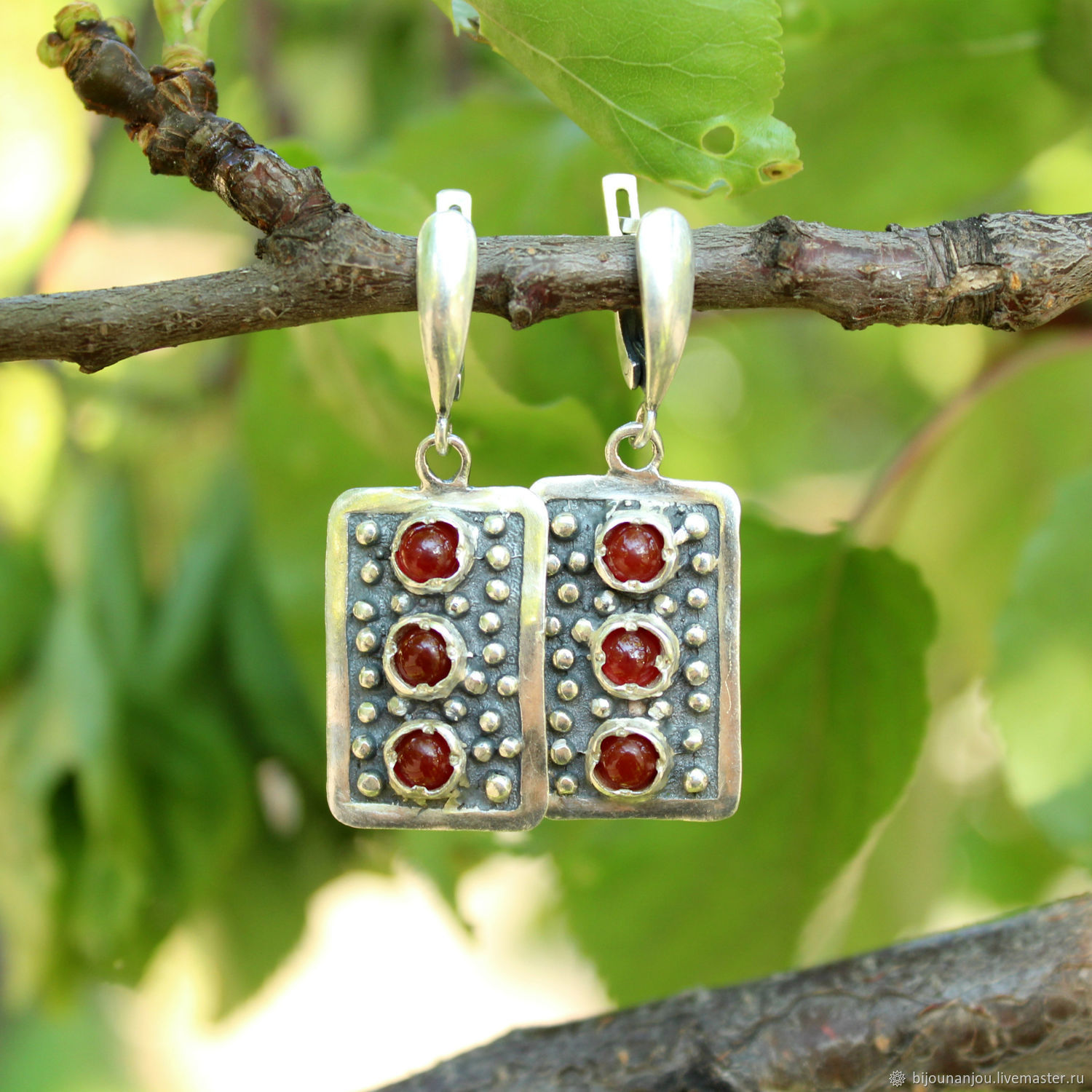 Earrings and ring with carnelian 925 sterling silver, Jewelry Sets, Yerevan,  Фото №1