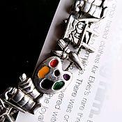 Винтажные браслеты ручной работы. Ярмарка Мастеров - ручная работа Браслет с шармами на нитке винтажная бижутерия художник. Handmade.