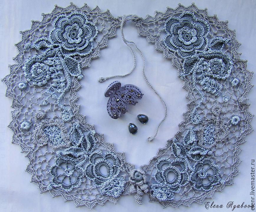 Irish lace. Collar 'Silver dew', Collars, Rybinsk,  Фото №1