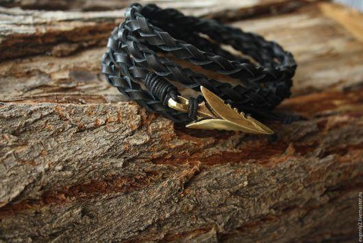 Украшения для мужчин, ручной работы. Ярмарка Мастеров - ручная работа. Купить Мужской браслет,Браслет с стрелой ,Черный браслет. Handmade.