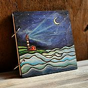 "Канцелярские товары handmade. Livemaster - original item Sketchpad 16x16sm ""Night lighthouse"". Handmade."