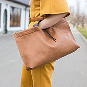 Клатчи ручной работы. Ярмарка Мастеров - ручная работа Сумка клатч Джек Воробей, светло-коричневый, кожаный, сумка из ламы. Handmade.