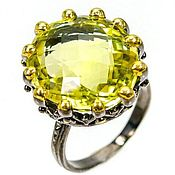 Украшения handmade. Livemaster - original item Sold. Large ring with citrine silver, p. .18. Handmade.