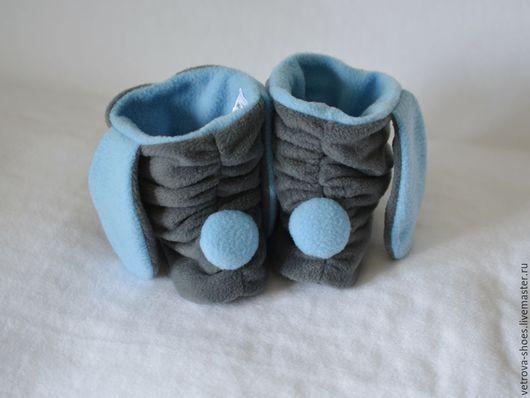 """Обувь ручной работы. Ярмарка Мастеров - ручная работа. Купить Тапочки-зайчики """"Облачные"""". Handmade. Серый, небесный, зайчик, хвостик"""