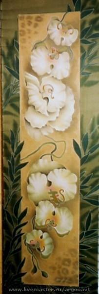 """Шали, палантины ручной работы. Ярмарка Мастеров - ручная работа. Купить Шарф-батик  """"Белые орхидеи"""". Handmade. Натуральный шелк"""