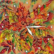 """Для дома и интерьера ручной работы. Ярмарка Мастеров - ручная работа Часы """"Осенний гербарий"""". Handmade."""
