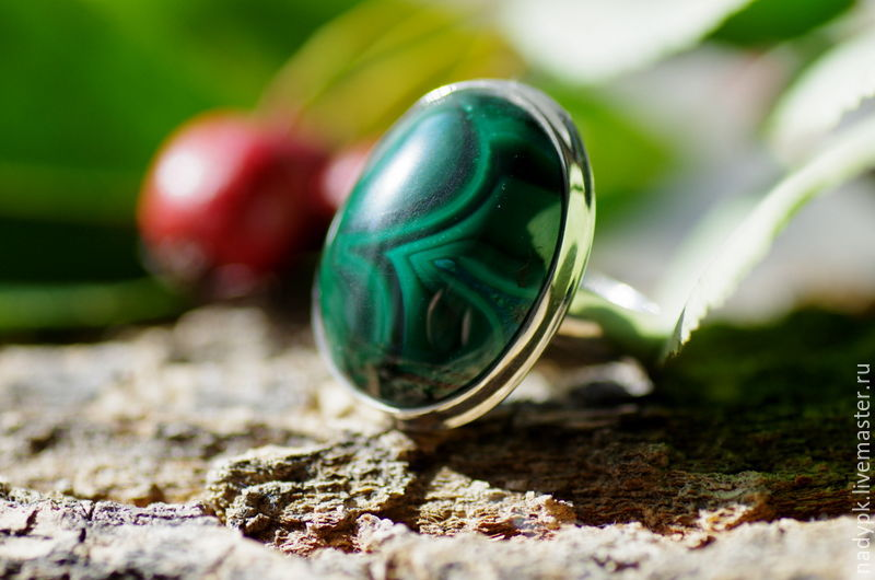 Ring with malachite 'Green Bud', natural malachite, silver, Rings, Moscow,  Фото №1