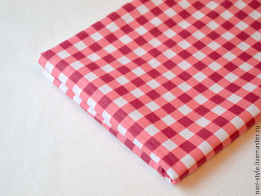 Шитье ручной работы. Ярмарка Мастеров - ручная работа. Купить Ткань хлопок в клеточку, красный. Handmade. Ярко-красный