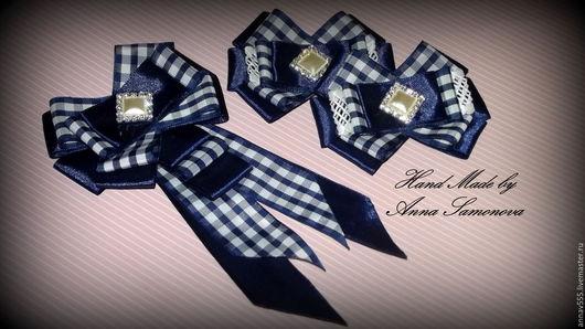 Детская бижутерия ручной работы. Ярмарка Мастеров - ручная работа. Купить Комплект школьный №3(галстук-брошь+две резинки д/волос). Handmade.