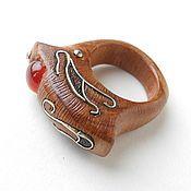 Украшения ручной работы. Ярмарка Мастеров - ручная работа Кольцо деревянное с сердоликом. Handmade.