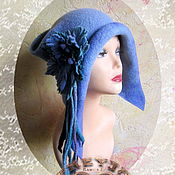 "Аксессуары handmade. Livemaster - original item feminine cap""Fairy tales ""with ear flaps .wool, knitted, felted. Handmade."