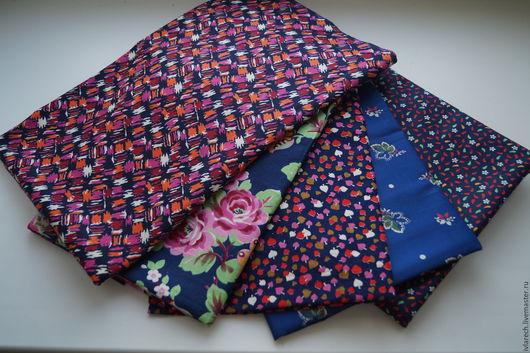 """Шитье ручной работы. Ярмарка Мастеров - ручная работа. Купить Ткань хлопок  для пэчворка и шитья """" Темно синяя коллекция"""". Handmade."""