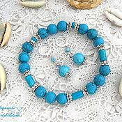 Earrings handmade. Livemaster - original item Turquoise set of Consuelo. Handmade.
