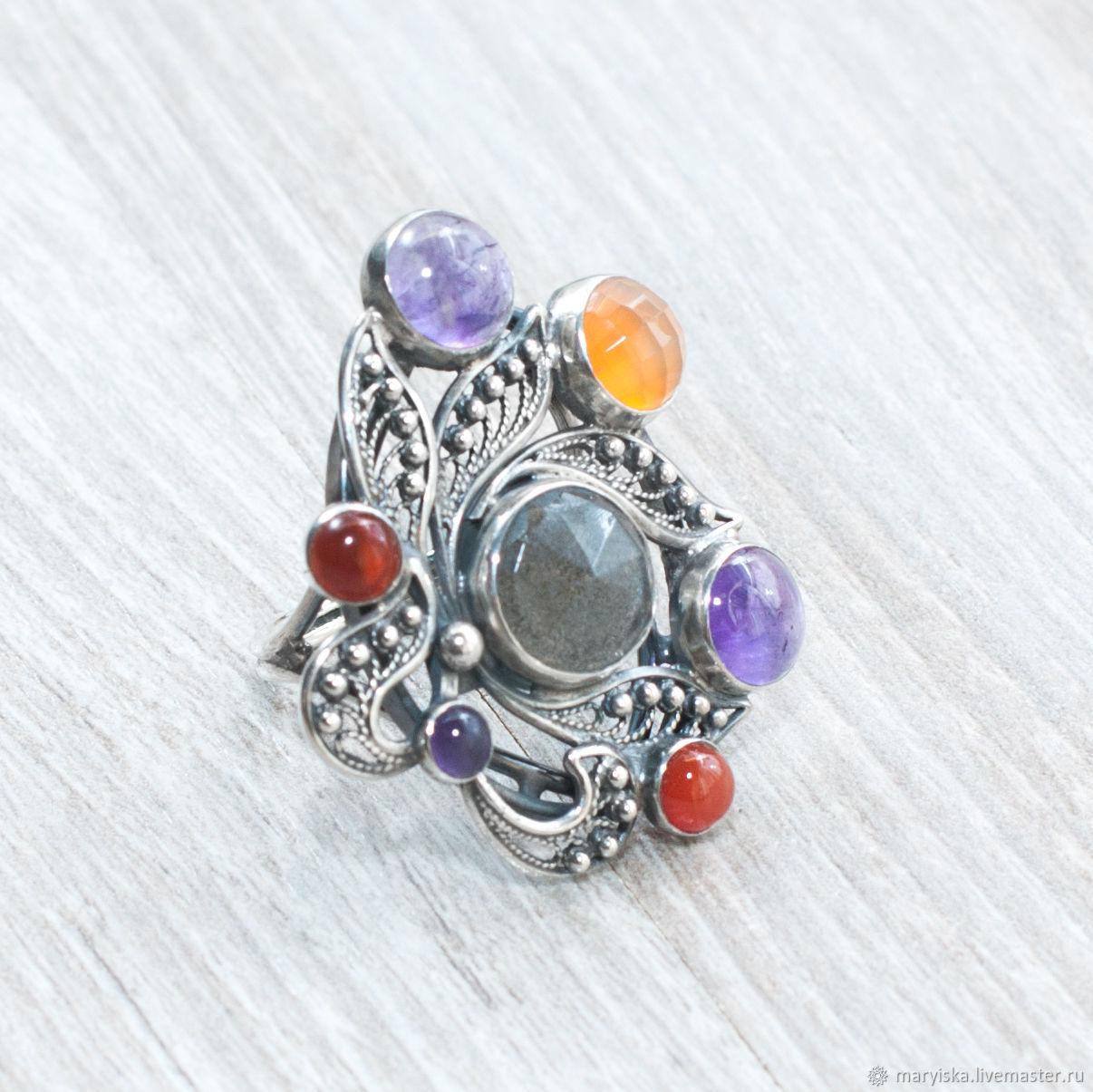 Carnelian, amethyst, moonstone (ring) (308), Rings, Tambov,  Фото №1