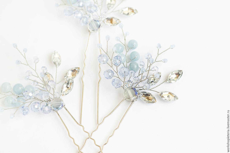 Свадебные украшения ручной работы. Ярмарка Мастеров - ручная работа. Купить  Голубые шпильки для прически ... 0a1aa966d43
