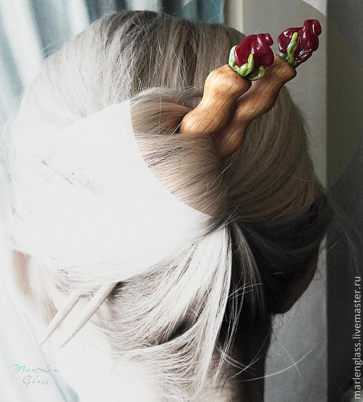Заколки ручной работы. Ярмарка Мастеров - ручная работа. Купить Парные палочки для волос Бордо. Handmade. Заколка для волос, дуб