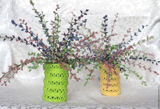 Искусственные растения ручной работы. Ярмарка Мастеров - ручная работа. Купить Вереск из бисера. Пара мини-букетов. Handmade. Разноцветный