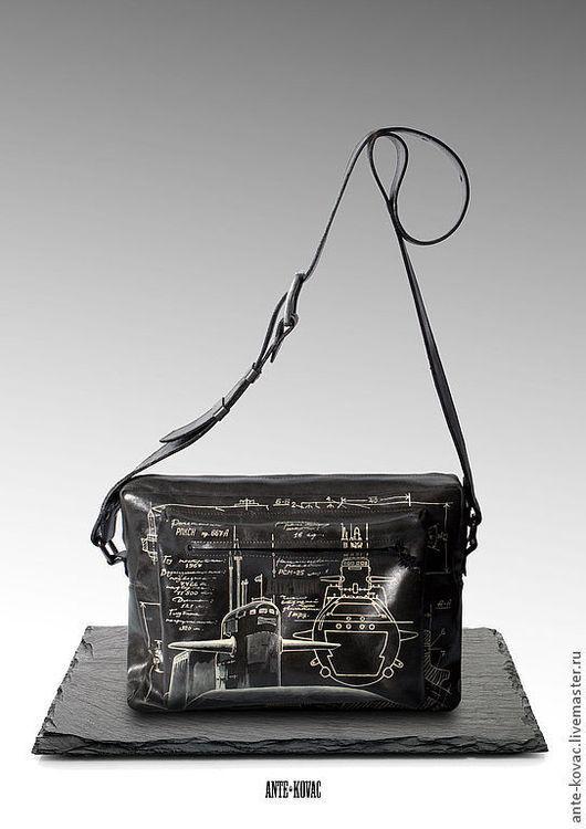 """Мужские сумки ручной работы. Ярмарка Мастеров - ручная работа. Купить Ситибег № 3 """"Проект 667-А"""" в сером. Handmade."""
