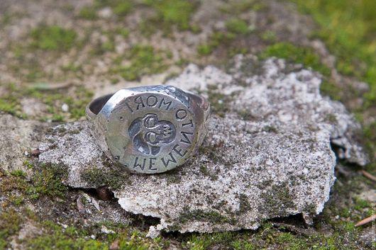 """Кольца ручной работы. Ярмарка Мастеров - ручная работа. Купить Кольцо-печатка """"Memento mori"""". Handmade. Серебряное кольцо, англия"""