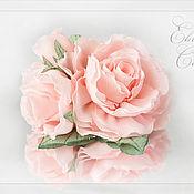 Брошь-булавка ручной работы. Ярмарка Мастеров - ручная работа Брошь-цветы Розовые розы. Handmade.