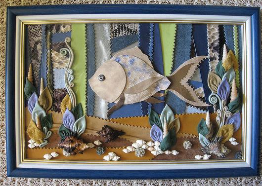 """Фантазийные сюжеты ручной работы. Ярмарка Мастеров - ручная работа. Купить Панно из кожи """"Рыбка моя!"""", картина из кожи. Handmade."""