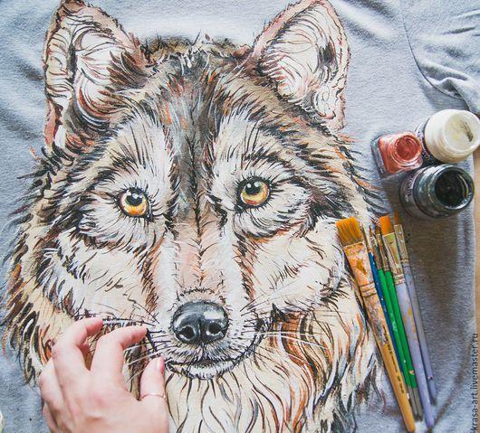 Футболки, майки ручной работы. Ярмарка Мастеров - ручная работа. Купить футболка Волк. Handmade. Серый, футболка, футболки с росписью