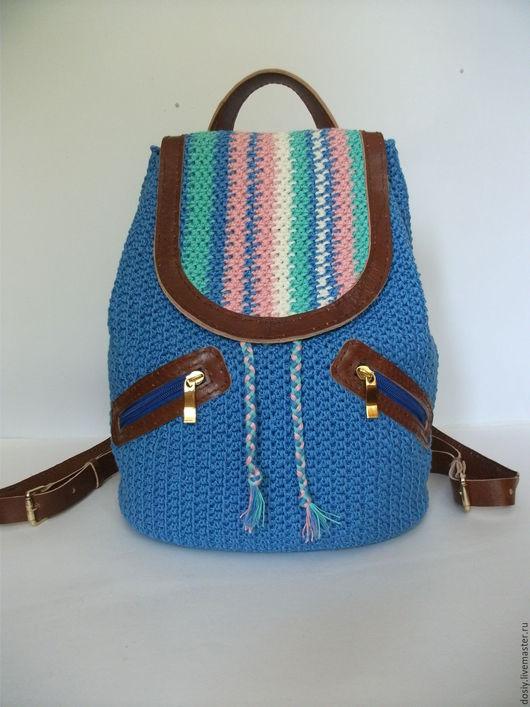 Женские сумки ручной работы. Ярмарка Мастеров - ручная работа. Купить вязаный рюкзак, цвет: джинсовый. Handmade. Голубой, джинсовый