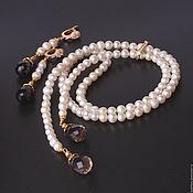 Украшения handmade. Livemaster - original item tie and earrings with natural pearls and topaz. Handmade.