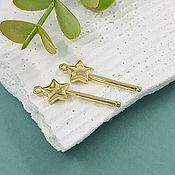 Материалы для творчества handmade. Livemaster - original item Magic Wand Pendant 27x9x2 mm gold-plated (5619-H). Handmade.