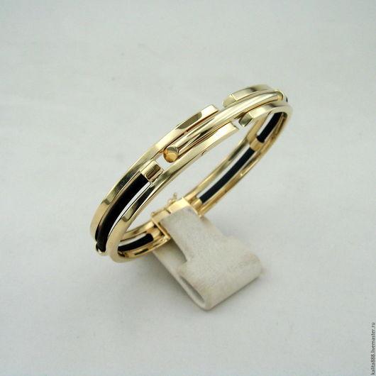 Браслеты ручной работы. Ярмарка Мастеров - ручная работа. Купить Мужской браслет из золота 585 пробы с кожаными вставками. Handmade.