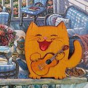 Украшения handmade. Livemaster - original item Brooch wooden Cat with guitar. Handmade.