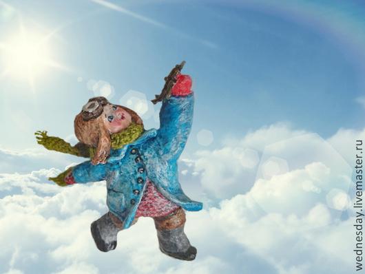 Человечки ручной работы. Ярмарка Мастеров - ручная работа. Купить В небо!. Handmade. Голубой, детство, вата