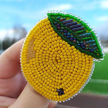 Украшения ручной работы. Ярмарка Мастеров - ручная работа Лимон брошь из бисера. Handmade.
