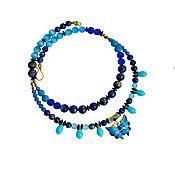 handmade. Livemaster - original item Necklace made of lapis lazuli, turkmenica with butterfly. Handmade.