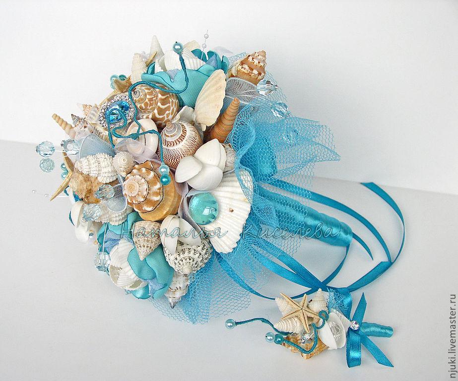 Морские букеты для невесты, букет конфет