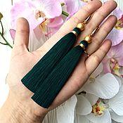 Украшения ручной работы. Ярмарка Мастеров - ручная работа Серьги-кисти Dark emerald зеленые морская волна изумрудные. Handmade.