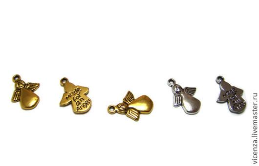 """Подвеска """"Ангел"""". На обратной стороне надпись """"Made for an angel""""\r\nЦвет: серебро, золото\r\nРазмер: 13*18 мм. Для украшений. Рукоделкино."""