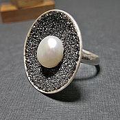 Украшения handmade. Livemaster - original item Druzy ring  a natural white pearl made from sterling silver 925. Handmade.