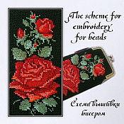 Материалы для творчества handmade. Livemaster - original item The scheme for embroidery with beads scarlet rose. Handmade.