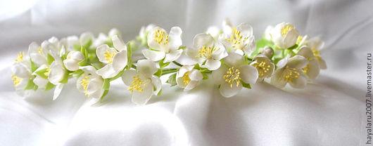Диадемы, обручи ручной работы. Ярмарка Мастеров - ручная работа. Купить Венок из цветов жасмина. Handmade. Белый, цветы в прическу