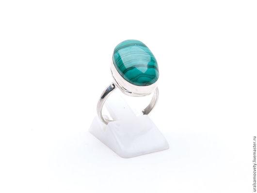 Кольца ручной работы. Ярмарка Мастеров - ручная работа. Купить Серебряное кольцо с природным малахитом. Handmade. Морская волна, малахит
