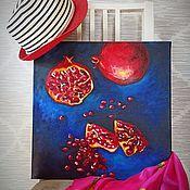 Картины и панно handmade. Livemaster - original item Oil painting still life pomegranates blue red dark bright. Handmade.