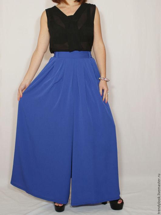 Брюки, шорты ручной работы. Ярмарка Мастеров - ручная работа. Купить Шифоновая юбка брюки штаны, королевский синий. Handmade.