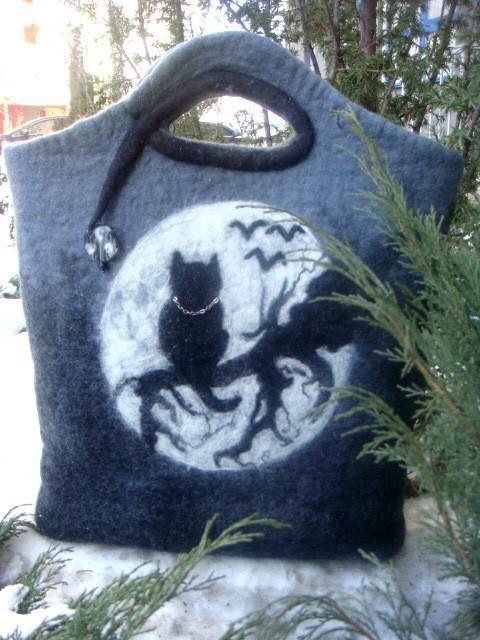 Handbags handmade. Livemaster - handmade. Buy Bag 'Moon cat'.The author's work, figure, backing cloth