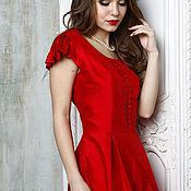 """Одежда ручной работы. Ярмарка Мастеров - ручная работа Платье шелковое """"Каролина"""" красное. Handmade."""