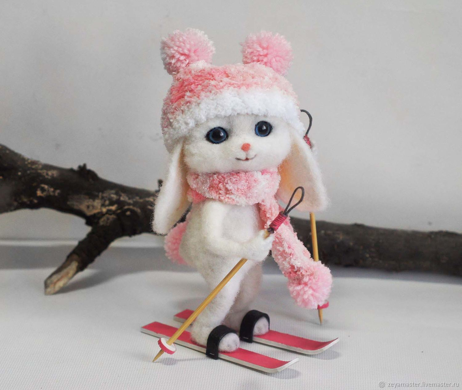 Bunny skier Felted toy made of wool, Felted Toy, Zeya,  Фото №1