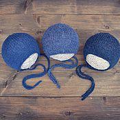 Hat handmade. Livemaster - original item Blue beanie hat Merino wool for a newborn baby boy. Handmade.
