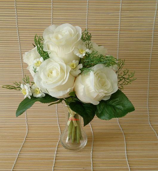 Материалы для флористики ручной работы. Ярмарка Мастеров - ручная работа. Купить Букет роз с зеленью Б118. Handmade. Цветы, свадьба