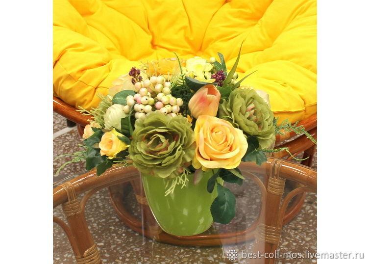 Интерьерные композиции ручной работы. Ярмарка Мастеров - ручная работа. Купить Композиция с розами и ранункулусом К18-363. Handmade. Цветы